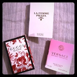 3 NEW sample sprays, 1 Versace, 1 GUCCI & 1 PRADA
